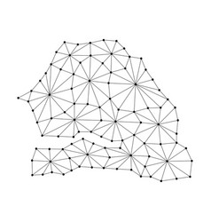 Senegal map of polygonal mosaic lines network vector