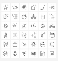Set 36 modern line icons golf stick notify vector