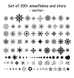 set christmas snowflakes and stars vector image