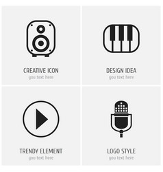 set of 4 editable media icons includes symbols vector image