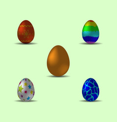 set of bright multicolored realistic easter eggs vector image