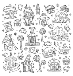 Set of cartoon houses vector