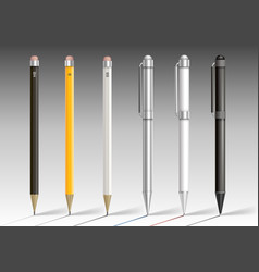 set of pencils and pens vector image