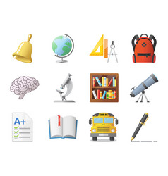 Set of school icons shool supplies and transport vector