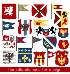 Set of vintage heraldic elements for design vector