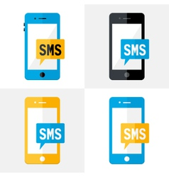 SMS Mobile Flat Set vector