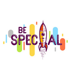 special word with rocket instead letter i vector image