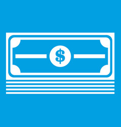 stack of dollars icon white vector image