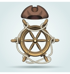 Steering Wheel and Sailor Hat vector image