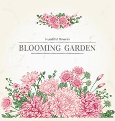 Summer card with garden flowers in vintage vector