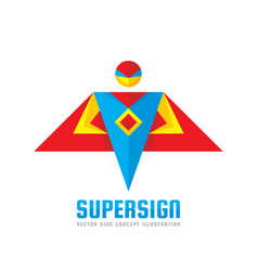 super sign - logo template concept in flat vector image