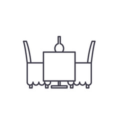 table and chairs in the restaurant line icon vector image