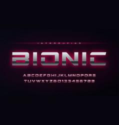technology metallic glowing english alphabet and vector image