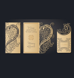 template greeting card for laser cutting openwork vector image