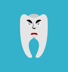 tooth angry emoji teeth grumpy emotion isolated vector image