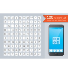 UI Linear Icons Set with Smart Phone vector