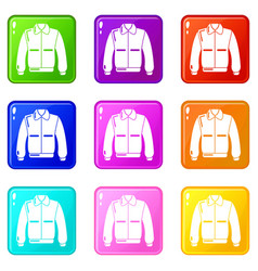 Varsity jacket icons set 9 color collection vector