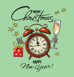 vintage happy new year merry christmas greeting vector image