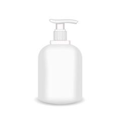 White glossy plastic bottle for shampoo shower vector