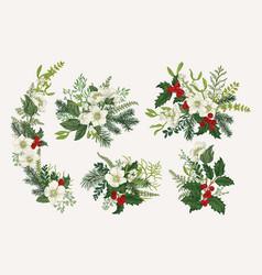 winter vintage bouquets vector image