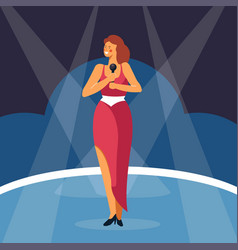 Woman singing sing with microphone standing on vector