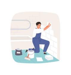 Worker laying and attaching ceramic wall tile vector