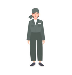 Young woman dressed in prison uniform isolated on vector