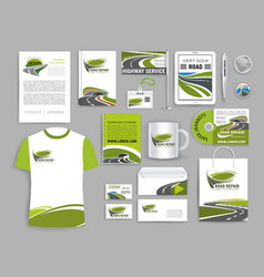 corporate identity template for road build company vector image