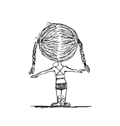 Girl doing gymnastics sketch for your design vector image vector image