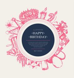 Happy birthday - modern drawn round banner vector