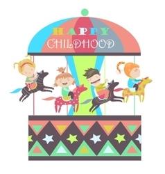 Happy kids riding merry go round vector image