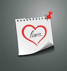 Red heart paper note love message vector image
