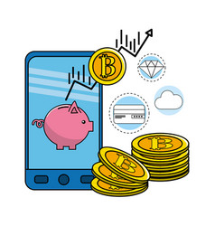 Smartphone with bitcoin currency and digital icons vector