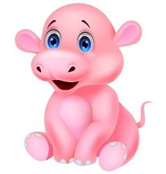 Cute baby hippo cartoon vector image vector image