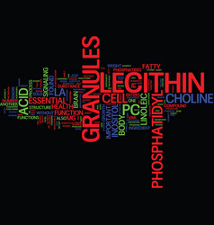 Lecithin granules text background word cloud vector