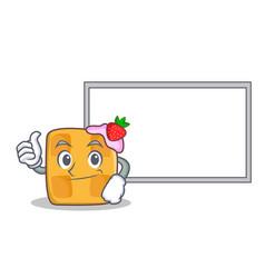 okay waffle character cartoon design with board vector image