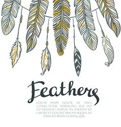 Card with colorful feathers Beautiful hand-drawn vector image vector image