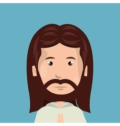 cartoon face Jesus christ design isolated vector image