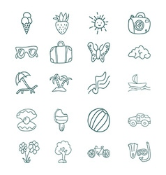 Hand draw icons set summer vacation vector image