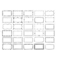 hand drawn line photo frame borders set vector image