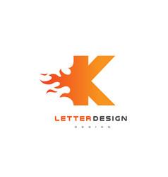 k letter flame logo design fire logo lettering vector image vector image