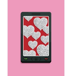 smart phone glitter love vector image vector image