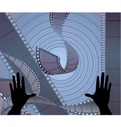 two hands with film vector image vector image