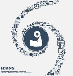 Arm muscle with dumbbell in hand icon in the vector image