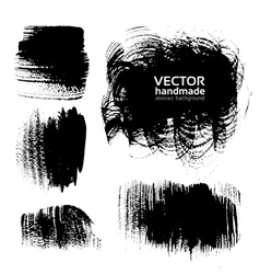 Black brush strokes on white background vector image