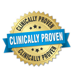 clinically proven round isolated gold badge vector image