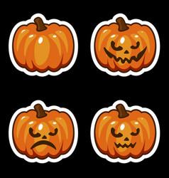 funny cartoon halloween pumpkin sticker icons vector image vector image