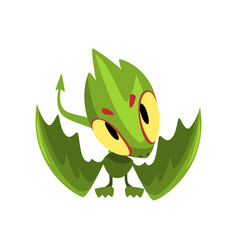 green baby dragon with funny muzzle cartoon vector image vector image