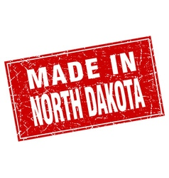 North Dakota red square grunge made in stamp vector image vector image