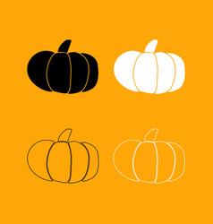 pumpkin set black and white icon vector image